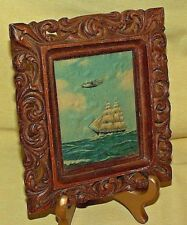 SAILING SHIP PICTURE WATER PLANE V P WRIGHT 1930S RESIN FRAME VINTGE LITHO WALL.
