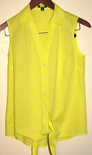Ann Taylor Bright Yellow Stretch Cotton Sleeveless Shirt w Tie at Hem Size XS