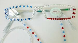 Patriotic made with Swarovski Crystal Reading Glasses & matching chain