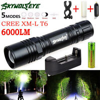 Tactical 6000lm CREE Xm-l T6 LED Flashlight Zoom Torch Light Lamp 18650 Charger