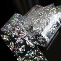 Nail Art Sticker Holographic Foils Wrap Feather Leaves Transfer Polish Decal Tip