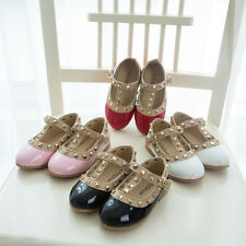 Princess Girl Baby Studs Stylish Pointed Toe Rivet T-strap Shoes Sandals Flats