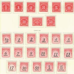 US Scott #J78-J101 Postage Due Lot of 26 Stamps, All Mint NH OG on Scott Page