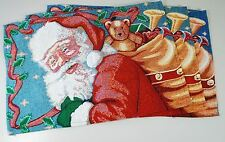 3X CHRISTMAS SANTA + TOY SACK TAPESTRY TABLE PLACEMATS SET - Cotton Fabric NEW