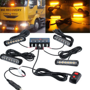 4X 6 LED Amber Recovery Strobe Marker Light Flashing Light bar beacon car 12/24V
