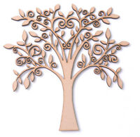 Wooden MDF Tree Shape Blank Family Tree Wedding Guestbook Crafting Leafy