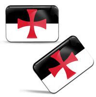 Autocollants 3D Drapeau Croix du Templiers Chevaliers Croisades Flag Stickers