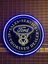 FORD V8 800MM DIAMETER  NEON SIGN PERFECT WITH FAIRLANE F100 LTD XR6 XR8 XYGT