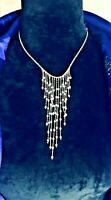 🧡 Vintage Bohemian Mermaid Pearl Tears Raining Dangle Droplet Fringe Necklace