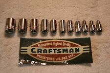 "11 pc CRAFTSMAN CHROME 1/4"" DRIVE 6 pt STANDARD / SAE SOCKET SET HAND TOOLS"