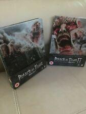 ATTACK ON TITAN I & II Movie Blu Ray STEELBOOKS W/slip card HMV release LIKE NEW
