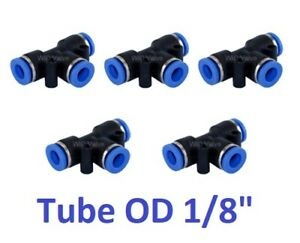 "Tee Union Pneumatic Push In To Connect Fitting Tube OD 1/8"" Quick Release 5pcs"