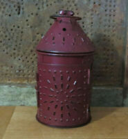 Paul Revere Lantern Metal Punched Tin Primitive Candle Holder Barn Red 6 1/2""