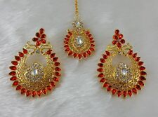 Elegant Red Gold Plated Party Wear Designer Zeronice Earrings With Tikka