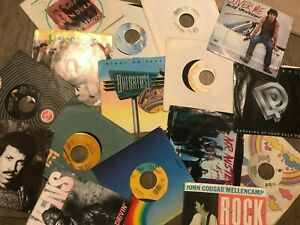 """Lot of 70-80s Rock Pop Mix (16) Records 7"""" Single 45 rpm Jukebox w/ Sleeves"""