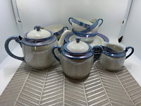 Japanese porcelain lusterware tea set lavender 17 pcs teapot creamer sugar plate