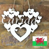 Cariad 'Love' in Welsh wall hanging White heart decoration sign gift Wales