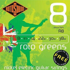ROTOSOUND R8 ROTO Greens Extra Light ELECTRIC GUITAR STRINGS 8-38 2 Packs
