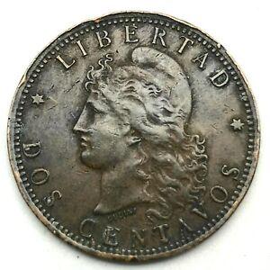 1893 Argentina 2 Centavos Bronze Coin KM# 33.