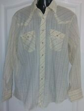 Vtg Western Wear Medium Thin Translucent Pearl Snap Button L/S Floral Shirt
