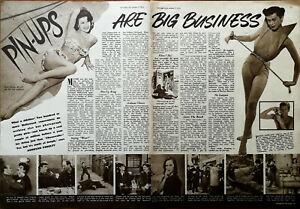 Mara Corday, Barbra Osterman, Peter Gowland Pin-Ups Big Business Article 1954