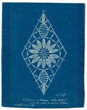 Photo  cyanotype - patron de fuseaux de coton perlé - dentelle couture 1930
