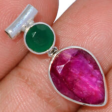 Ruby & Emerald 925 Sterling Silver Pendant Jewelry AP174890