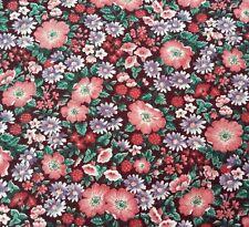 """1 yd 17"""" Victorian Calico V I P Cranston Floral Rose Pink Lavender Brown"""