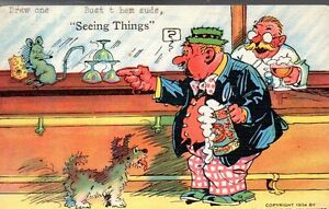 1934 Alcohol postcard -Seeing things - Rare