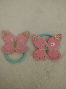 Vintage Gymboree 2 Pink Butterfly Ponytail Holders