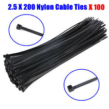 100PCS Black Electrical Nylon Cable Ties 2.5 x 200 mm UV Stabilised 50013