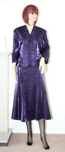 SEXY PURPLE WETLOOK SHIMMER FULL LENGTH FLARED GOVERNESS SKIRT & JACKET sz 16 18
