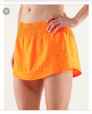 NEW Lululemon Run Breeze By Skirt Sz 8 Laser Cut orange Tennis/Running skort