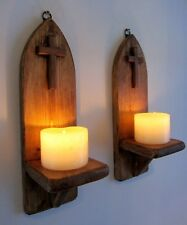 PAIR OF 32CM RECLAIMED WOOD RUSTIC GOTHIC CHURCH WALL SCONCE LED CANDLE HOLDERS