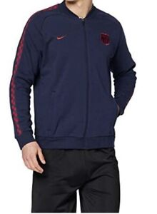 Nike FC Barcelona GFA Fleece Track Jacket Men's Small New Full Zip Up Navy