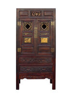 Chinese Brown Light Bamboo Top Dresser Drawer Cabinet Table cs1339E