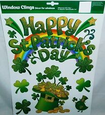 St Patrick's Day Window Clings HAPPY ST PATRICK'S DAY Rainbow And Shamrocks