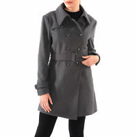 Alpine Swiss Keira Womens Trench Coat Double Breasted Wool Jacket Belted Blazer