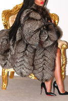 MAGNIFICENT REAL SILVER FOX GENUINE FUR COAT JACKET BEAUTIFUL DESIGN! L XL
