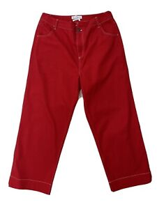 NATIVE YOUTH Red Straight Leg Crop Trousers Size M (12-14)