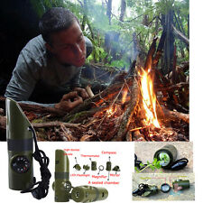 Chaud 7 en 1 survie en plein air sifflet boussole thermomètre lampe loupe neuf