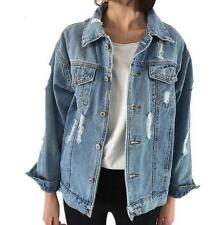 Women's spring Hole patch denim Ripped jeans BLUE JACKET short Coat outwear