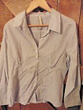 white shirt-blouse, with blue stripes, stretch and tight fitting, new