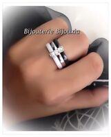 Magnifique Bague Céramique Noir&Blanc T52 Zirconium Argent 925 Bijoux Femme💓