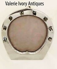 Mid Century French Chrome Horseshoe Equestrian Picture Photo Frame