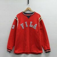FILA Sweatshirt Crewneck Size Large Red Embroidered Arch Spell Out