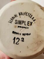 Simplex Terrine Brevetee 12.2 France Cream Stoneware Covered Dish Lion 1920's