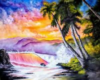 Original Signed Oil Painting Art Decor 24x30 Stretched Canvas Bob Ross Style