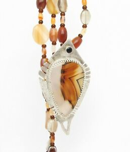 pendant Montana Agate set in sterling silver with black diamond beaded necklace