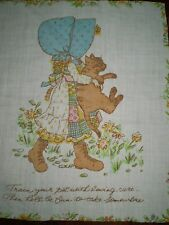 Vintage HOLLY HOBBIE CAT Fabric Panel (24cm x 28cm)